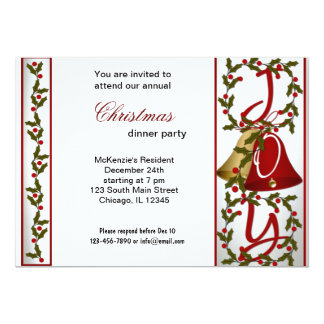 Christmas Bells dinner 13 Cm X 18 Cm Invitation Card