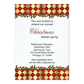 Christmas Bells dinner 13 Cm X 18 Cm Invitation Card