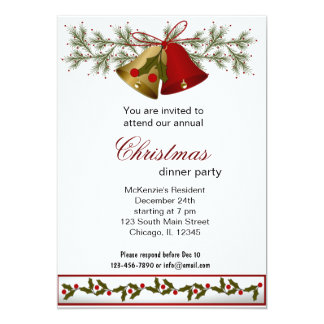Christmas Bells dinner Personalized Invitation