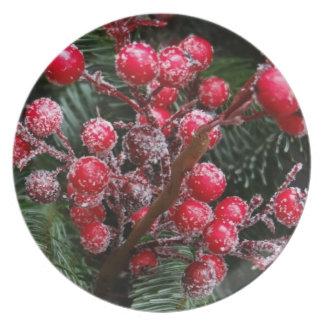 Christmas berries Happy Holidays season's greeting Dinner Plate