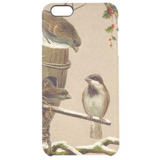 Christmas Bird Sparrow Birdhouse Holly Clear iPhone 6 Plus Case