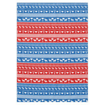 Christmas Blue and Red Reindeer and Snowflakes Tablecloth