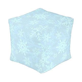 Christmas Blue Snowflakes Pouf Cushion