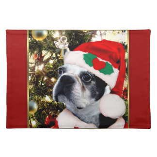 Christmas Boston terrier Placemat