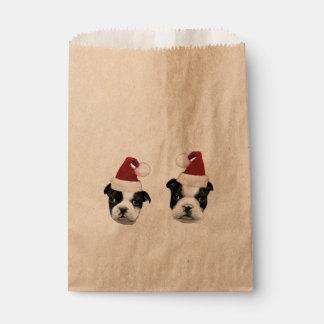 Christmas Boston Terrier puppies Favour Bags