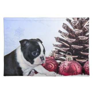 Christmas Boston Terrier Puppy Placemat