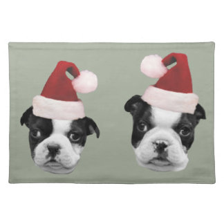 Christmas Boston Terriers Place Mat