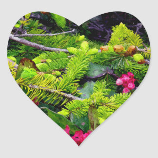 Christmas Bough Heart Stickers
