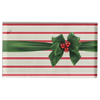 Christmas bow with stripey background place card holder