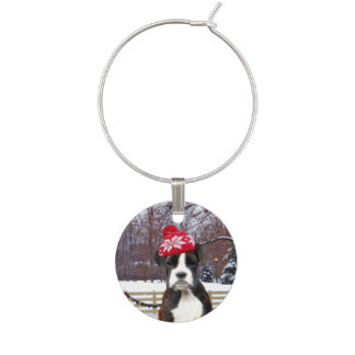 Christmas Boxer Puupy Wine Charm