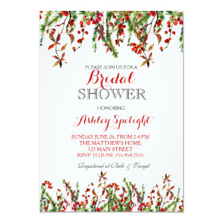 Christmas Bridal Shower Floral Invitation