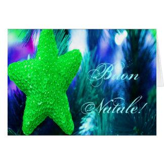 Christmas Buon Natale Green Christmas Star I Greeting Card