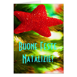 Christmas Buone Feste Natalizie Red Star Greeting Card