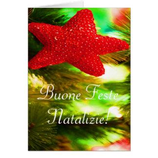 Christmas Buone Feste Natalizie Red Star II Card