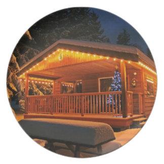 Christmas cabin Season's greeting holidays xmas Dinner Plates