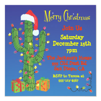 Christmas Cactus with Santa Hat Invitations