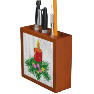 Christmas Candle Cross Stitch Pencil/Pen Holder