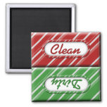 Christmas Candy Cane Clean Dirty Dishwasher Magnet