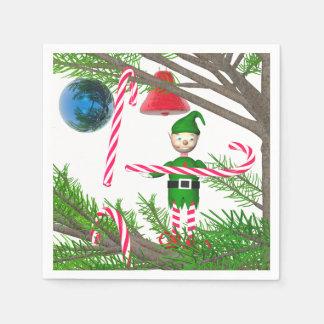Christmas Candy Cane Elf Disposable Serviettes