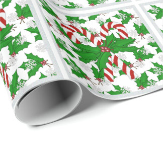Christmas Candy Cane Snowflake And Holly Wrapping Paper