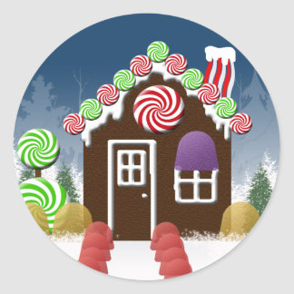 Christmas Candy House Holiday Envelope Seals Round Sticker