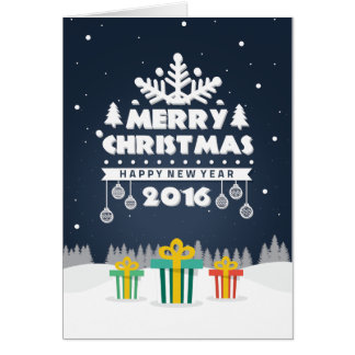 Christmas Card Folded Gifts Blue
