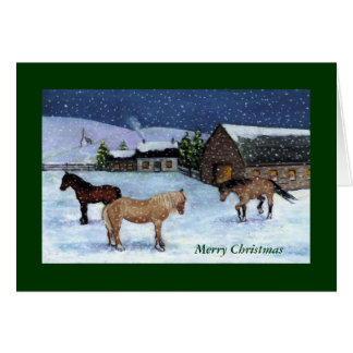 CHRISTMAS CARD: HORSES, SNOW: ART GREETING CARD
