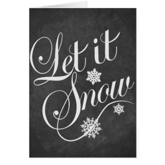 Christmas card Personalized chalkboard Let It Snow