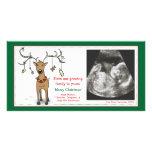 Christmas Card Pregnancy Announcement- Reindeer Photo Card
