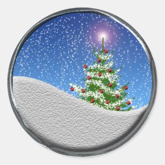 Christmas Card Seals Round Sticker
