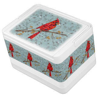 Christmas Cardinal bird collage Chilly Bin
