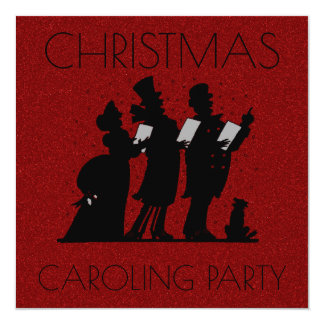 Christmas Caroling Party | Victorian Faux Glitter Card