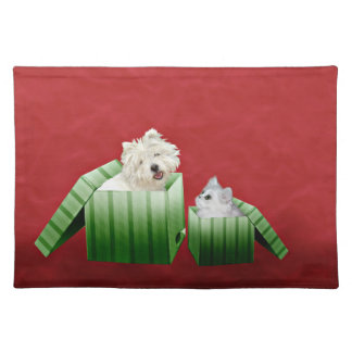 Christmas cat and dog placemat