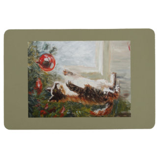 Christmas cat floor mat