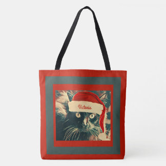 Christmas Cat in Santa Cap w/ Name Tote Bag
