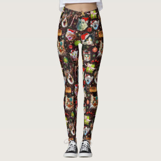 Christmas Cats in Space Galaxy Stars Funny Holiday Leggings