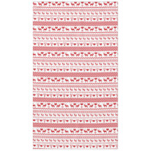 Christmas Chalet Red and White Reindeer Snowflake Tablecloth
