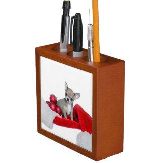 Christmas Chihuahua dog Desk Organiser
