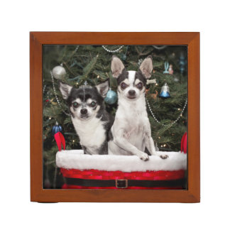 Christmas Chihuahua's in a red basket Desk Organiser