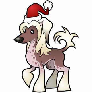 Christmas Chinese Crested Ornament (hairless) Photo Sculpture Decoration