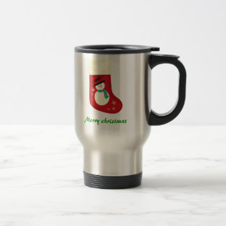 christmas clipart stocking, Merry christmas 15 Oz Stainless Steel Travel Mug