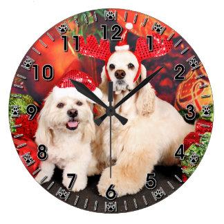 Christmas - Cocker - Toby, Havanese - Little T Large Clock