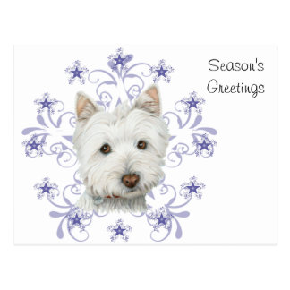 Christmas Cute Westie Dog Art and Snow flake Postcard