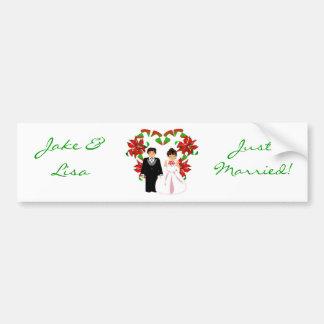 Christmas/December Just Married I Bumper Sticker Car Bumper Sticker