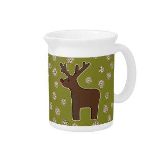 Christmas deer! green pitcher