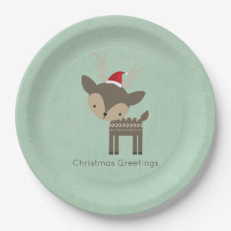 Christmas Deer In A Red Santa Hat Retro Hipster 9 Inch Paper Plate