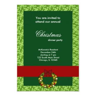 Christmas Dinner Damask 13 Cm X 18 Cm Invitation Card