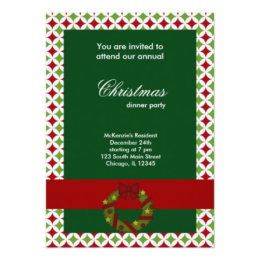 Christmas Dinner Diamonds Personalized Invite