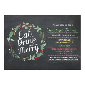 Christmas Dinner Eat Drink & Be Merry Party Invite