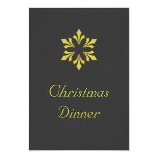 """Christmas Dinner"" - Golden Snowflake 3.5x5 Paper Invitation Card"